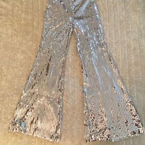 Zara silver sequin flared pants Size Small
